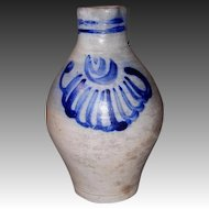 Ovoid Gray Stoneware Batter Jug with Cobalt Design