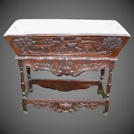 """Provencal Louis XV Carved Walnut Petrin """"Dough Box"""" with Galvanized Top"""