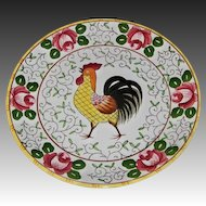 Early Provincial Rooster & Roses Pattern Dinner Plate by Ucagco