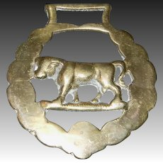 Cast Working Horse Brass with Bull Figure