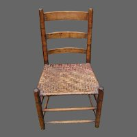 19th Century Child's Chair with Woven Basket Weave Splint Seat