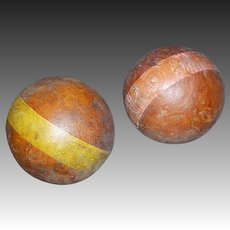 Two Vintage Wooden Croquet Balls