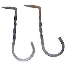 Hand Forged Twisted Iron Hooks