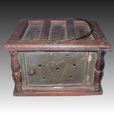 Large Pierced Tin Heart Design Foot Warmer w/Inside Coal Pan
