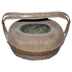 Bronze Woven Basket with Handles