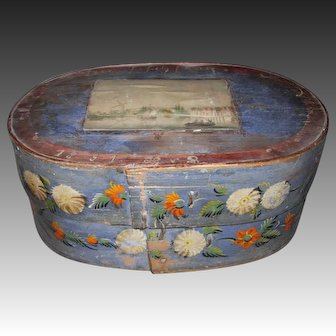 Antique Hand Painted Wooden Bride's Box