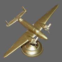 WWll Solid Brass Trench Art Airplane on Stand