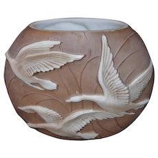 Sculptured Phoenix Glass Art Ware Vase