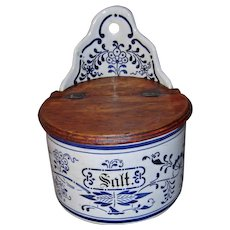 Vintage Blue and White Porcelain Salt Box Cellar with Wood Lid