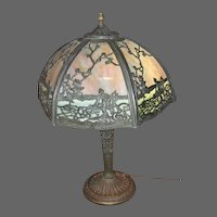 Salem Brothers Six Panel Slag Glass Table Lamp