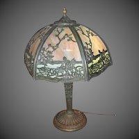 Salem Brothers Six Panel Slag Glass Table Lamp