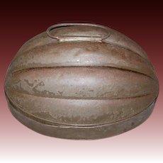 Early 2 Quart Tin Melon Shaped Mold marked P. Weber