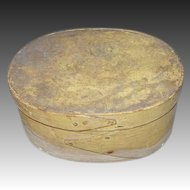 19th C. Oval Bentwood Box signed CH