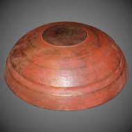 19th Century Treenware Bowl in Original Red Paint