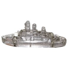 Vintage Clear Glass Battleship Candy Container