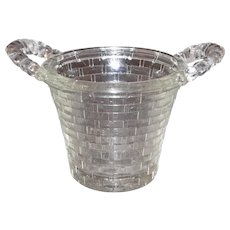 Vintage Miniature Glass Basket Candy Container