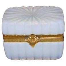 French White Opaline Glass Jewelry Casket