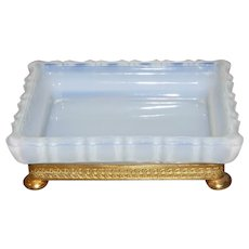 French White Opaline Glass Soap Dish