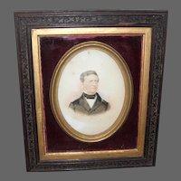 19th century Oil Painting of Gentleman on Milk Glass Panel