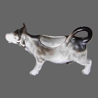 Gray and White Cow or Bull Cream Pitcher