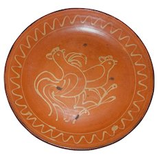 Redware Serving Bowl, Plate with Slip Rooster Design