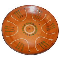 Redware Serving Bowl, Plate with Slip Design