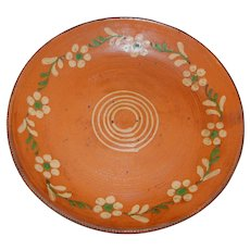 Redware Serving Bowl, Plate with Slip Flower Garland