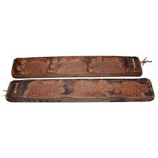 Pair Primitive Dutch Cookie Molds
