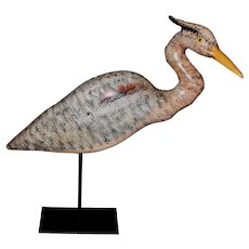 Hand Carved and Signed Great Blue Heron Shorebird