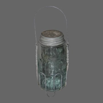 Vintage Mason Canning Jar with Wire Carrier
