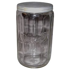 Hoosier Cabinet Clear Glass Paneled Coffee Jar with Lid