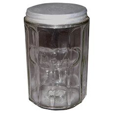 Hoosier Cabinet Clear Glass Paneled Tea Jar with Tin Lid