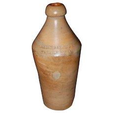 19th c. Cream Nectar Stoneware Bottle
