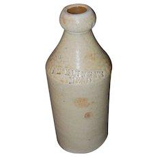 19th Century F. McKinney's Mead Stoneware Bottle