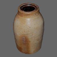 19th c Salt Glaze Stoneware Wax Seal Canning/Preserve Jar