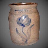 19th Century Cortland, NY Stoneware Crock