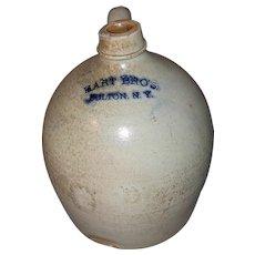 19th Century Hart Bro's., Fulton, N.Y. Stoneware Jug