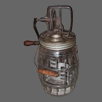 Early Glass Barrel Butter Churn