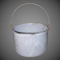 Vintage Gray Mottled Graniteware Berry Bucket