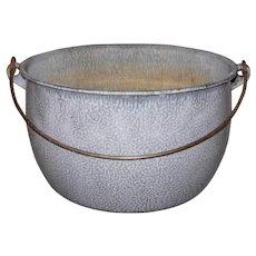 Vintage Gray Mottled Graniteware Pot with Bail Handle