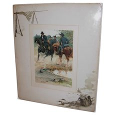 Signed Louis Harlow (1850-1913) Lithograph General Grant at Vicksburg