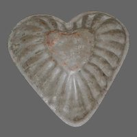 Early Primitive Tin Heart Shaped Chocolate-Tart Molds