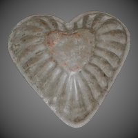 Early Primitive Tin Heart Shaped Chocolate-Tart Molds