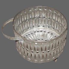 Punched Tin Cheese Strainer/Mold Basket with Handle