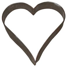 Early Primitive Tin Heart Shaped Cookie Cutter-Mold