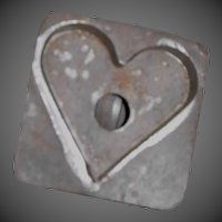 Early Primitive Tin Heart Shaped Cookie Cutter with Square Back