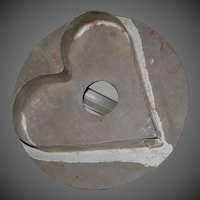 Early Primitive Tin Heart Shaped Cookie Cutter with Round Back