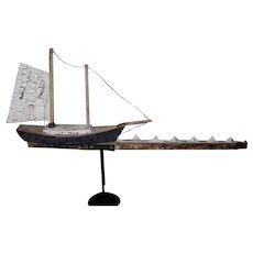 Wooden Sailboat Weathervane