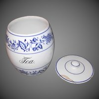 Large Blue Onion Tea or Sugar Canister - Germany