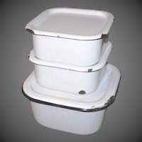 Three Enamelware Refrigerator Containers